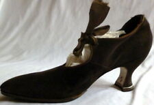 Original Antique 1900-1910s Brown Suede Heals Shoes Size 7 1/2 Edwardian