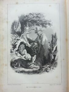 ANTIQUE PRINT DATED 1848 THE WOODCUTTER'S VISIT ENGRAVING FAIRIES MAGIC CHILDREN