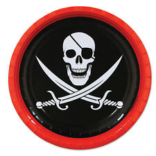 """8 ct PIRATE Skull & Cross Swords  9"""" Paper Plates Birthday Party Tableware"""