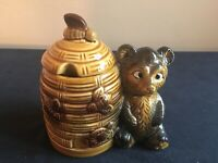 Vintage Cute Bear and Beehive Ceramic Honey Pot with Cover; Japan