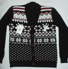 Nordic Cardigan Sweater Retro Reindeer Winter Snow Sport Cotton Slim Fit Small