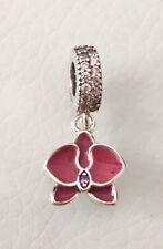 Orquídea Flor CZ de Plata Esterlina Rojo encanto colgante para beacelets Y Collar