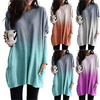 Women Pockets Long Sleeve Tunic Baggy Top Jumper Loose Pullover Plus Size Blouse
