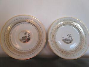 rare paire assiettes porcelaine Russe St Pétersbourg.Paul 1er.18éme architecture