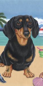 Dachshund Black & Tan Summer Fun Beach Towel