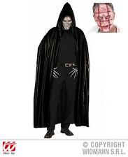 2 piezas Drácula Vampiro Capa Negro, Capucha + Sangriento Máscara Hombre