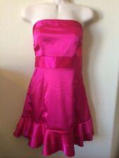 Xi Magenta Pink Strapless Ruffle Bottom Bow Tie Dress, Size M