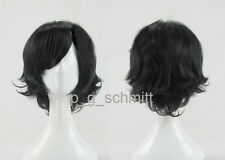 New Fashion Short layered Anime Black Cosplay Party Wig + Free wig cap