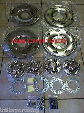"(4) Phoenix USA 15"" Stainless Trailer Wheel Hub Caps Rim Covers; Bolt On! NST15"