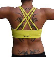 Ladies fitness wear crop top bra size Small 8-10 yellow women's yoga workout
