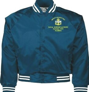 NAVAL SUPPORT ACTIVITY PANAMA CITY FLORIDA NAVY EMBROIDERED 2-SIDED SATIN JACKET