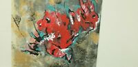 Red Mirage Original Unframed Abstract Painting,   Acrylic On Canvas Panel Signed