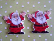 2 x Large Father CHRISTMAS Flatback Planar Resin Crafts Bows Embellishments UK