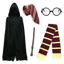 Adult School Boy Wizard Fancy Dress Costume (Cape, Tie, Scarf, Glasses, Wand)