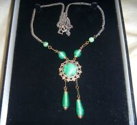 SIGNED ANTIQUE ART DECO CZECH SATIN URANIUM GLASS Vintage LAVALIERE NECKLACE