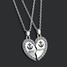 2Piece Crystal Anchor Best Friend Friendship Silver Break Heart Pendant Necklace
