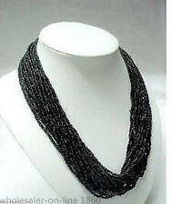 FASHION 2-3mm black MULTI STRAND CORAL SEED BEAD NECKLACE JEWELRY Beautiful