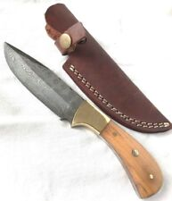 Damascus Steel Fixed Blade Knife Teak Wood Handle Brass Guard Leather Sheath D9