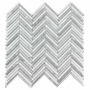 Classic .25X2 Herringbone Gray White Metallic Glossy Glass Marble MTO0511