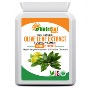 Olive Leaf Extract 6750mg 60 Capsules  20% Oleuropein Immune Support Antioxidant