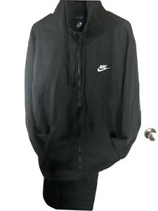 NIKE AIR FLEECE SWEATSUIT HOODIE(XL) +PANTS(L) HEAVYWEIGHT BLACK NEW