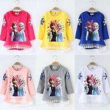 Kids Girls Frozen Anna&Elsa Cotton T-Shirt Long Sleeve Top Lace Dress Xmas Gift