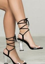 NEW Urban Outfitters black Velvet Lace Up Clear Lucite Band & Heel Sandals 9