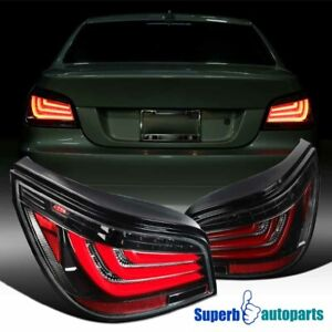 For 2008-2010 BMW E60 5-Series Shiny Black LED Bar Tail Brake Lights Lamps L+R