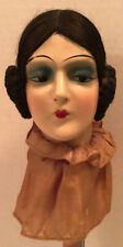 Anique Boudoir Doll Head Hat Stand Hand Painted 1920'S Art Deco