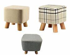 New Luxury Padded Wooden/Linen Footstool Square Pouffe 4 Legs