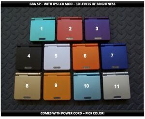 Nintendo Game Boy Advance GBA SP IPS MOD System 10 Level Brightness-Pick Color!