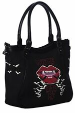 Banned Apparel Love Me Bite me Vampire Lips Bats Goth Canvas Tote Bag BG7247BLK
