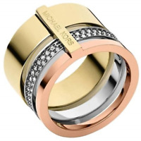 Michael Kors Logo Double Tone Gold & Rose Gold Tri-Stack Pave Ring Size 7