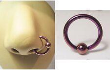 Purple Titanium Ball Attached 10 mm Diameter Nose Nostril Hoop 14 gauge 14g