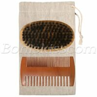 Men Army Boar Hair Bristle Beard Mustache Round Brush Double-sided Wood Comb Set