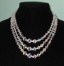 Vintage Three Strand AB Crystal Necklace,1950-60s