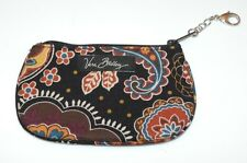 Vera Bradley Kensington Brown Paisley Clip Zip ID Coin Purse Small Wallet EUC
