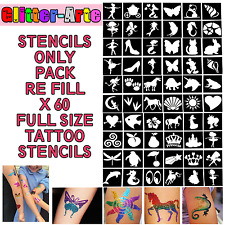 X60 STENCILS Glitter Tattoos Girls Princess Kids Body Art VALUE Kit TG5
