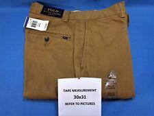 Men's 30x31 Polo Ralph Lauren Ghurka Khaki Classic Flat Front Pants Size 30 x 31