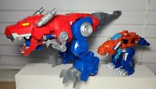 "LOT Of 2 Transformers Rescue Bots Optimus Primal 10"" & 4"" T-Rex Dinosaurs"