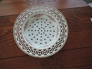"""VTG  Pierced Vegetable/Seafood Dish-Germany Footed Gold Rimmed 73/4"""" ?30's"""