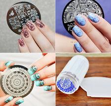 4pcs/set Flowers Rose Nail Art Stamping Image Plates Stamper Scraper Tool Kit