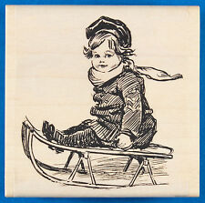 Child on Sled Rubber Stamp by Paper Inspirations - Little Boy or Girl in Winter