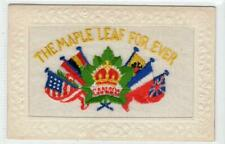 More details for the maple leaf for ever: ww1 canada embroidered silk postcard (c63393)