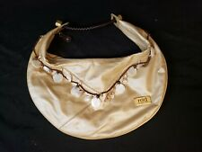 Red Marc Ecko Champagne Gold Faux Leather MOP Pearl Shell Hobo Tote Bag Purse