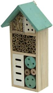 Wooden Insect Bee House Hotel Wood Roof Attract Insects & Bees To Garden Green