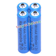 4 pcs AAA 3A 1800mAH 1.2V Ni-MH Blue Color Rechargeable Battery Cell