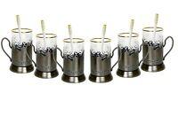 Set of 6 Russian Tea Glass Holders Podstakannik, 24K Gold Trim Glasses & Spoons