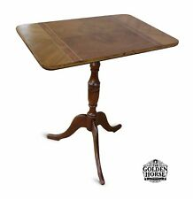 Antique Queen Anne Cherry Tilt Top Candle Stand Table 1900s