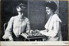 Checkers - Two Women Playing Board Game 1903 French Postcard - 'Les Dames'